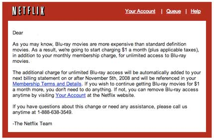 Netflix has sent users an e-mail notifying them of a $1 per month additional ...