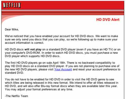 Hacking NetFlix : Netflix HD DVD Alert E-mail